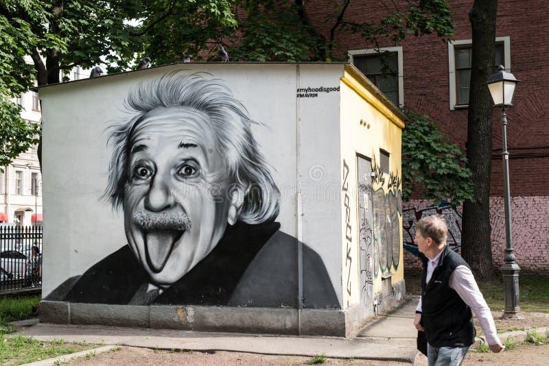 Graffiti portret Albert Einstein obraz stock