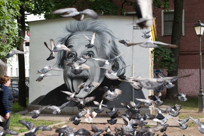Graffiti portret Albert Einstein zdjęcie stock