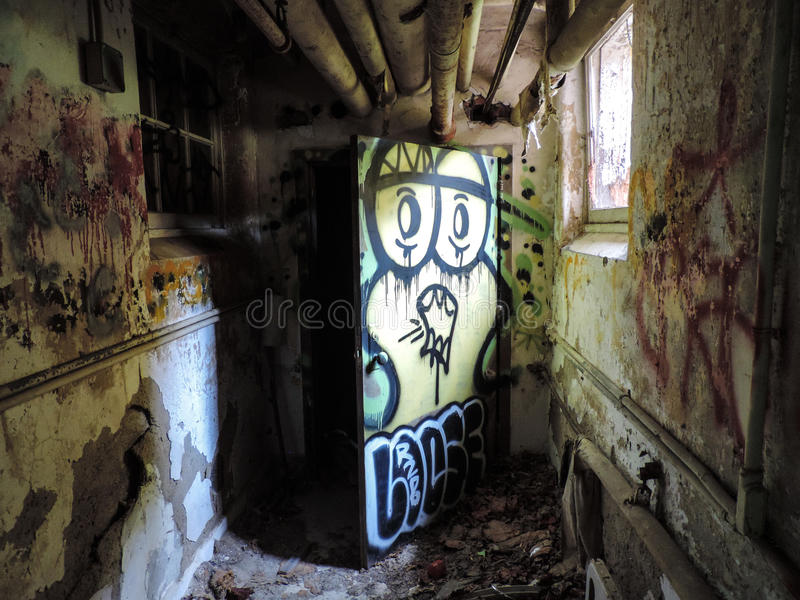 Graffiti in psych center stock image