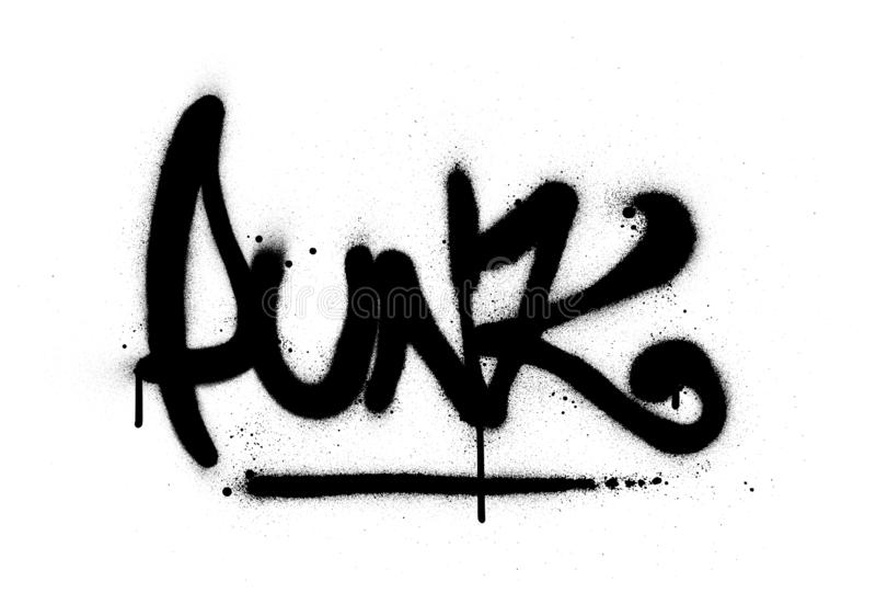 Graffiti punk word sprayed in black over white stock illustration