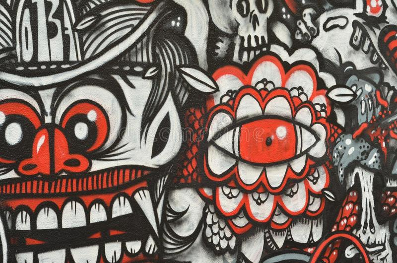 Graffiti rossi e neri fotografia stock