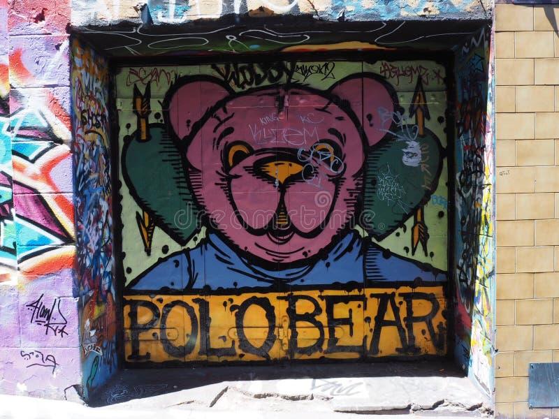 Graffiti - Roze Polo Bear stock foto