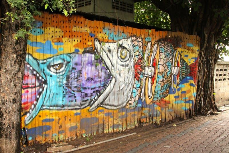 Graffiti Rybia sztuka Tajlandia obrazy royalty free