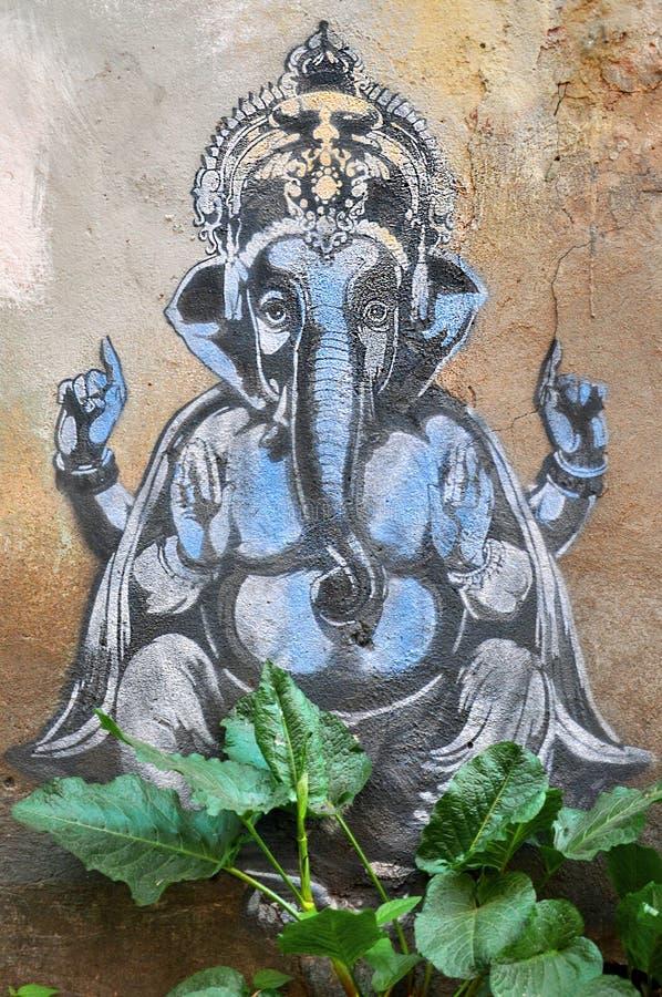 Graffiti słonia bóg Ganesha fotografia stock