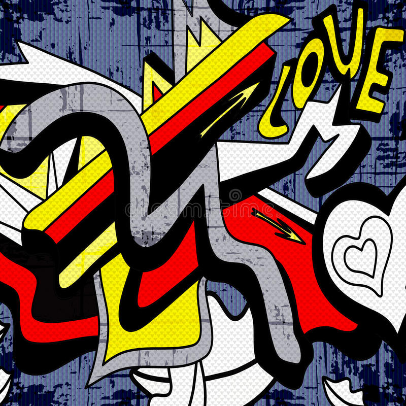 Graffiti sans couture de modèle de vecteur de beau fond géométrique illustration libre de droits
