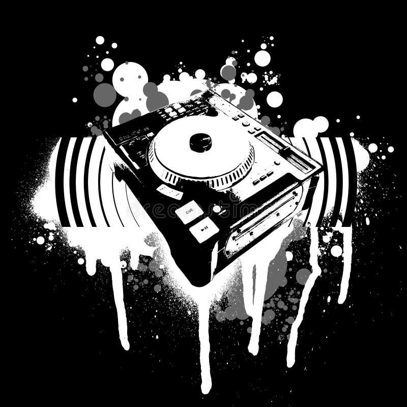 Graffiti-schwarze weiße Drehscheibe stock abbildung