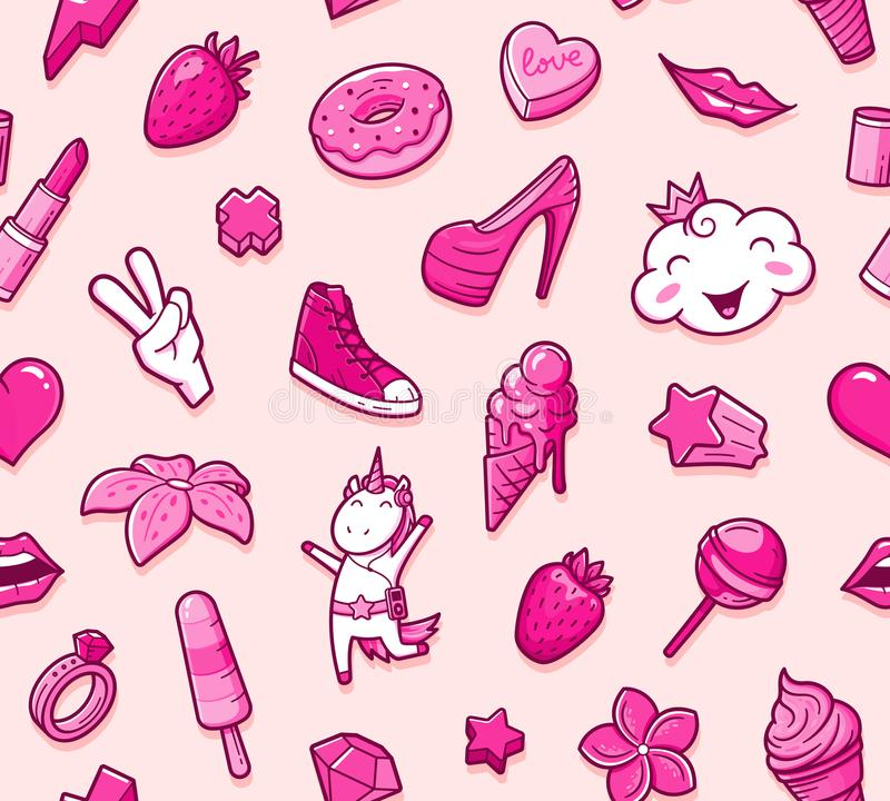 Graffiti seamless pattern with girlish doodles. Graffiti seamless pattern with girlish style doodles. Vector background with childish girl power crazy elements vector illustration