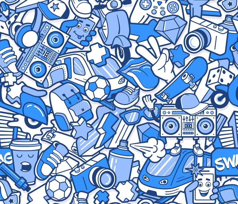 Graffiti seamless pattern with line icons collage. Graffiti seamless pattern with urban lifestyle line icons. Crazy doodle abstract vector background. Trendy royalty free illustration