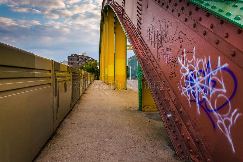 Graffiti on the side of the colorful Howard Street Bridge in Baltimore, Maryland. royalty free stock photos