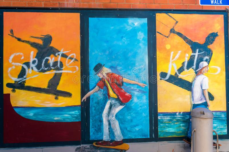 Graffiti or mural of the skaters royalty free stock photo