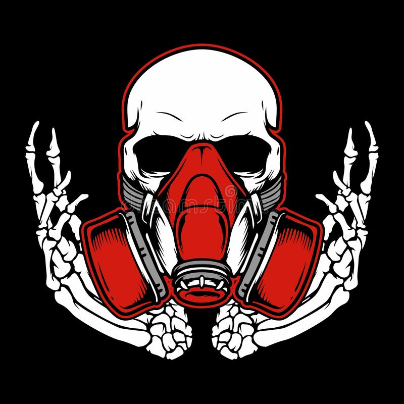 Graffiti skull with gas mask hand drawing vector royalty free stock photography