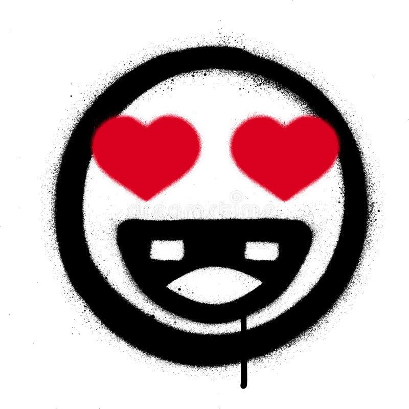 Graffiti smiling icon in love sprayed over white. Graffiti smiling icon in love sprayed on white vector illustration