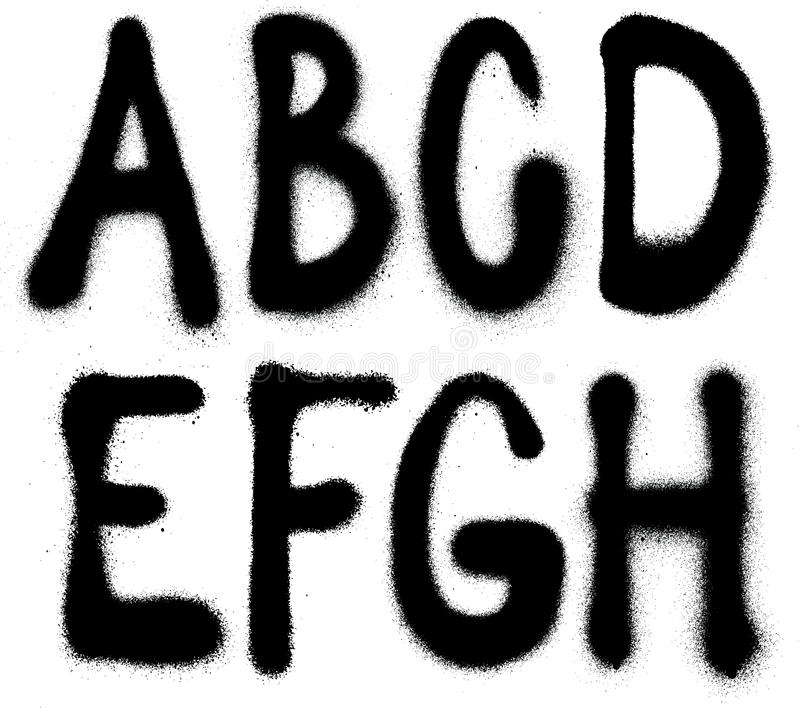 Graffiti spray paint font type (part 1) alphabet vector illustration