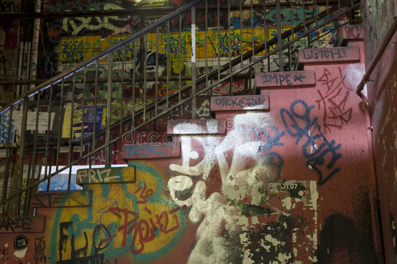 Graffiti stairs. Stairs in an old Berlin building, full of graffiti stock photo