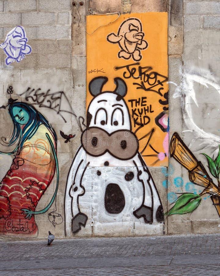 Graffiti of Street Art, Porto, Portugal royalty-vrije stock fotografie