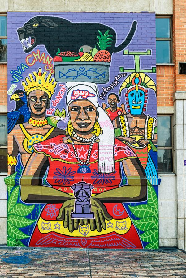 Graffiti on the streets near San Antonio Park in Medellin, Colombia. Medellin, Colombia - March 26, 2018: Walls covered by colorful graffiti on the streets near royalty free stock images