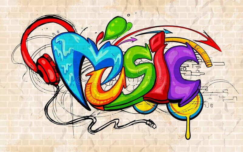 Graffiti stylowy Muzyczny tło royalty ilustracja