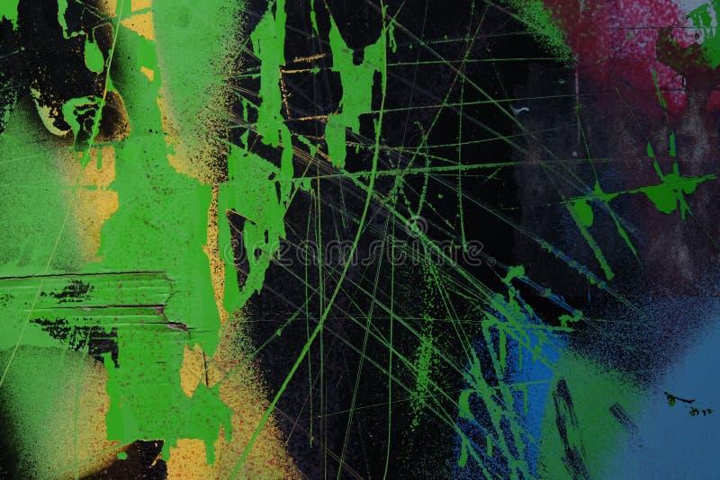 Graffiti su una parete - dettaglio di un graffito dipinto su una parete immagini stock libere da diritti