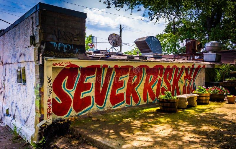 Graffiti su una parete in piccolo cinque punti, Atlanta, Georgia immagini stock libere da diritti