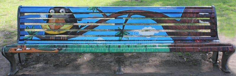 Graffiti sul banco fotografie stock