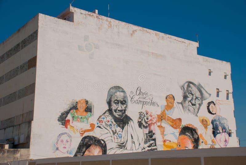 Graffiti sulla parete di una costruzione nella città Campeche, ritratti del disegno della gente San Francisco de Campeche, Messic immagine stock libera da diritti