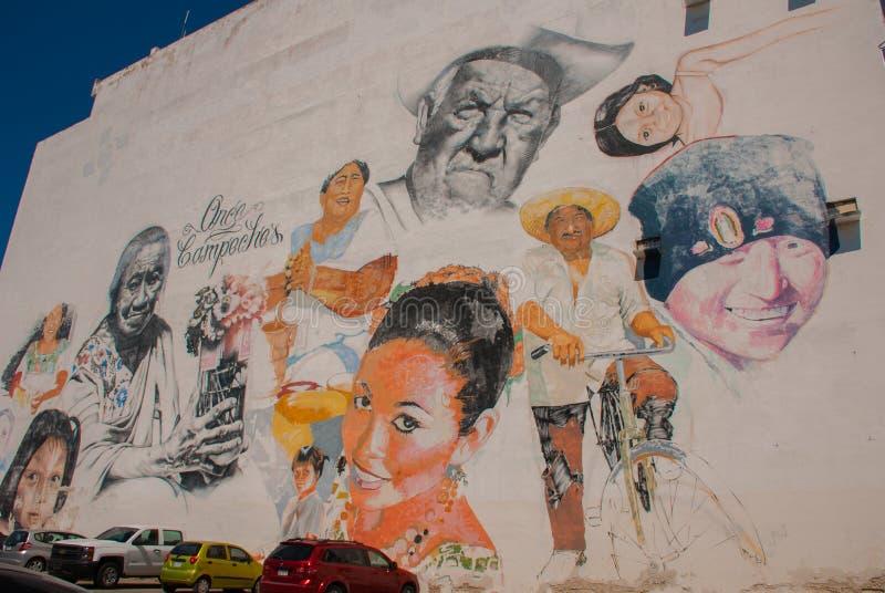 Graffiti sulla parete di una costruzione nella città Campeche, ritratti del disegno della gente San Francisco de Campeche, Messic fotografia stock