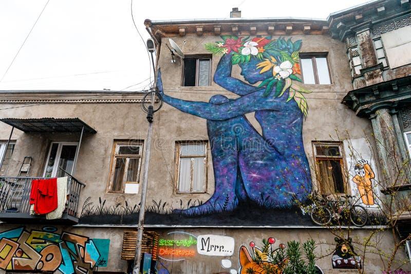 Graffiti in Tbilisi, oude steden, Tbilisi, Georgië stock afbeelding