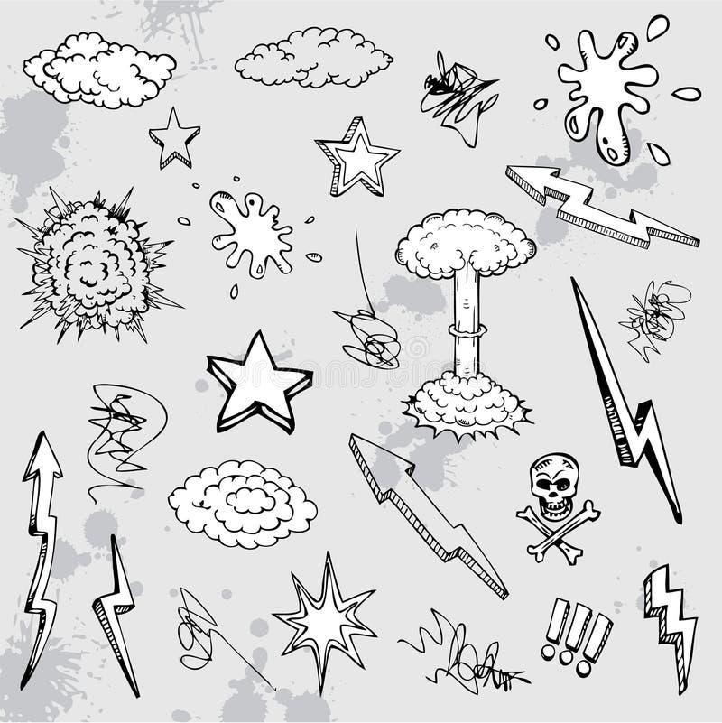 Graffiti tiré par la main de dessin animé illustration de vecteur