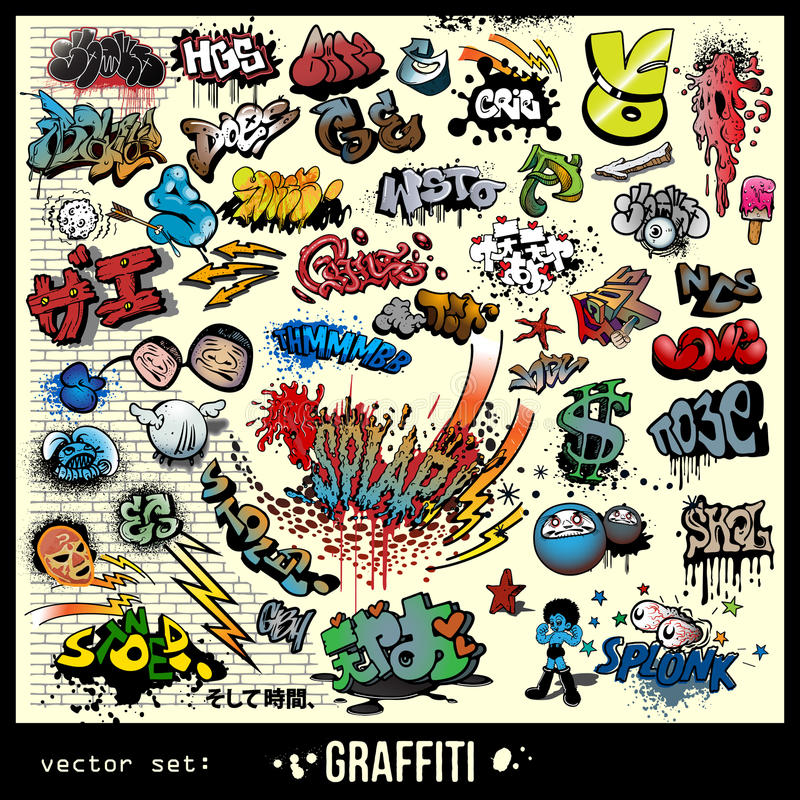 Graffiti urban art elements royalty free illustration