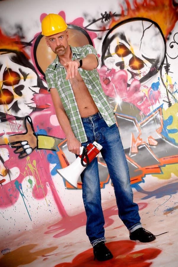 Graffiti urbani del soprintendente immagini stock