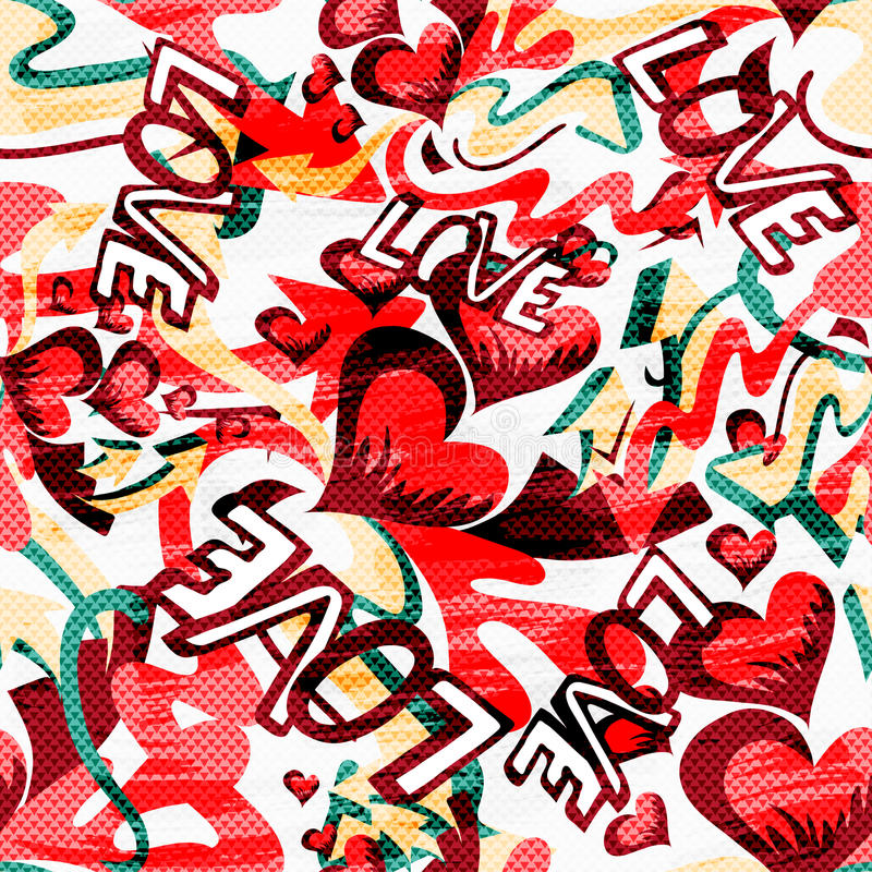 Graffiti Valentine Day on a black background seamless background texture grunge royalty free illustration