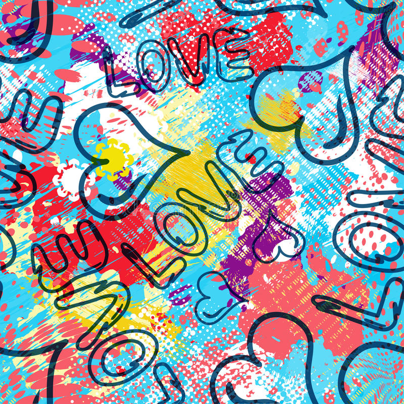 Free Graffiti Valentine Day Seamless Background Vector Illustration Of Grunge Texture Royalty Free Stock Photos - 92216808
