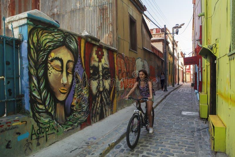 Graffiti in Valparaiso Cile immagini stock libere da diritti