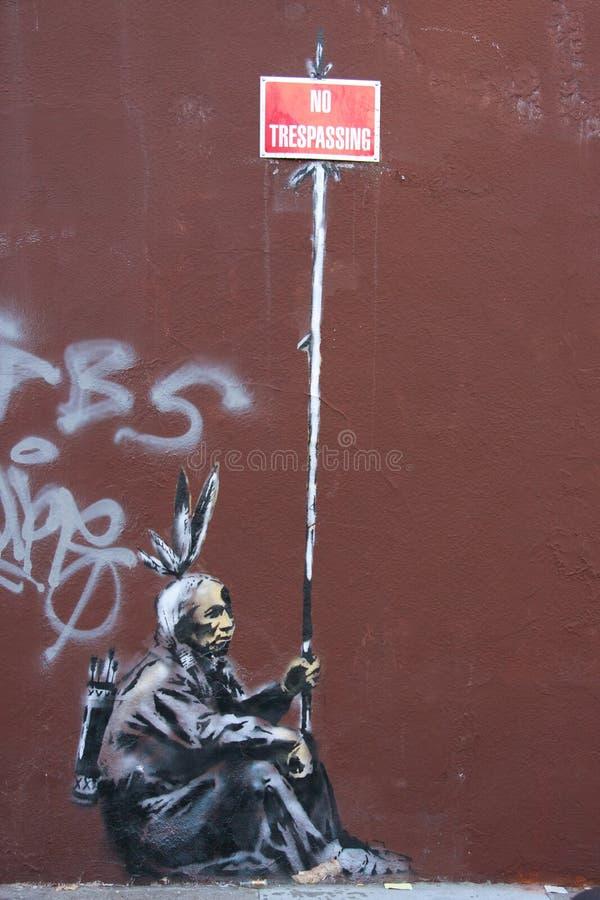 Graffiti van Banksy stock foto's