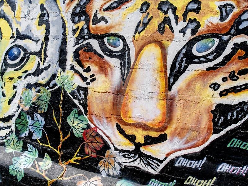 Graffiti van tijgers royalty-vrije stock afbeeldingen