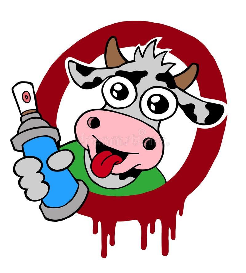 Graffiti vandal, cartografia de caracteres de vaca, vetor ilustração do vetor
