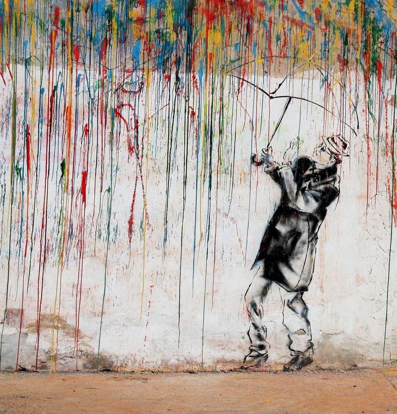 Graffiti variopinti dell'uomo immagine stock libera da diritti