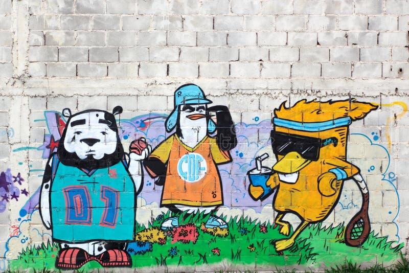 Graffiti variopinti, Rosario, Argentina immagine stock