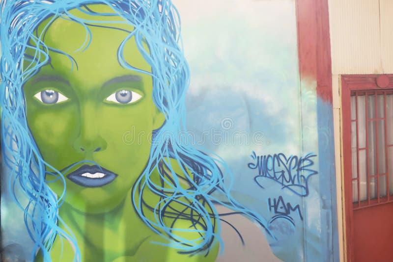 Graffiti variopinti su una parete a valparaiso in peperoncino rosso fotografia stock