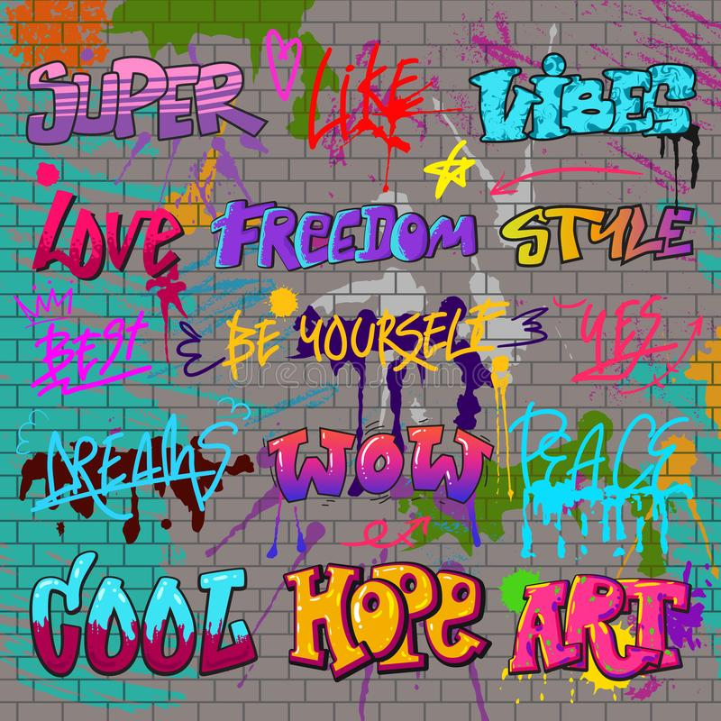 Graffiti vector graffito of brushstroke lettering or graphic grunge typography illustration set of street text with love. Freedom isolated on brick wall royalty free illustration