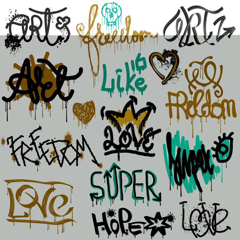 Graffiti vector street art graffity grunge font by spray or brush stroke on wall illustration urban set of love freedom royalty free illustration