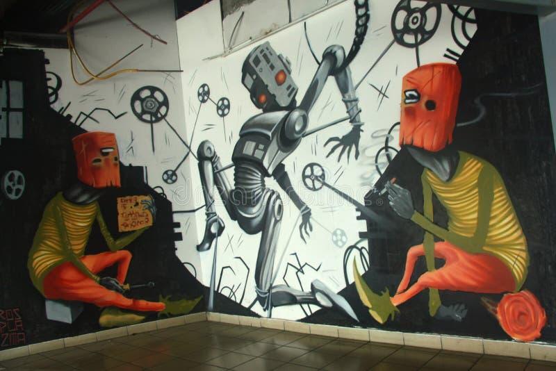 Graffiti w środkowym przystanku autobusowym w Tel Aviv zdjęcia royalty free