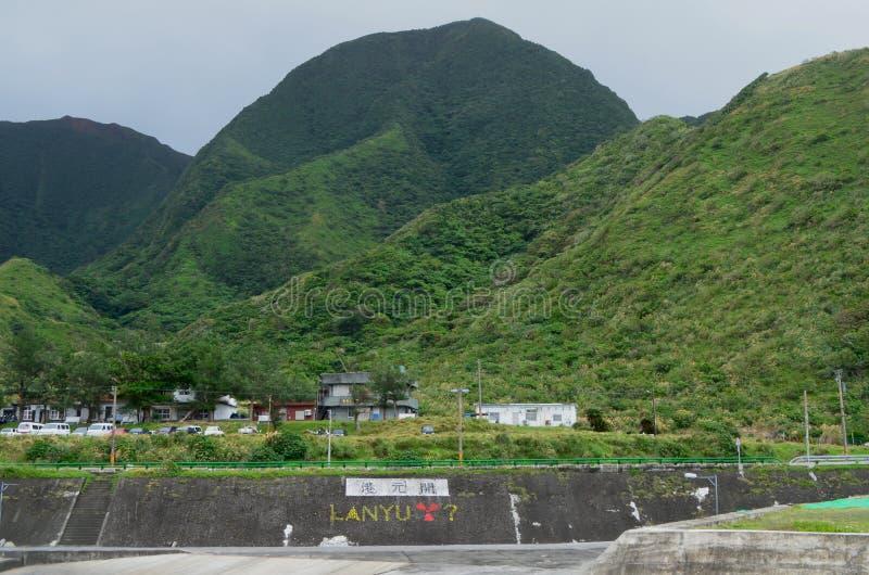 Graffiti w Kaiyuan schronieniu potępia magazyn radiactive odpady w Lanyu wyspie zdjęcia stock