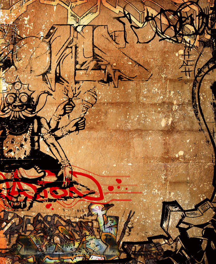 Graffiti wall stock illustration
