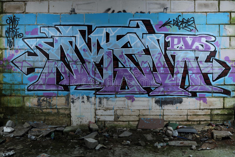 Graffiti Wall in Derelict Building stock images