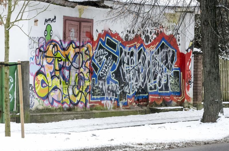 Graffiti on the wall of the house royalty free stock photography