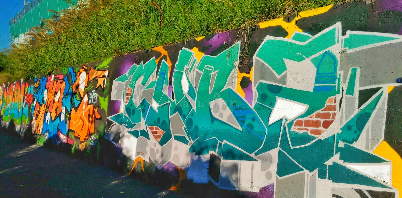 Graffiti Wall in Naples stock images