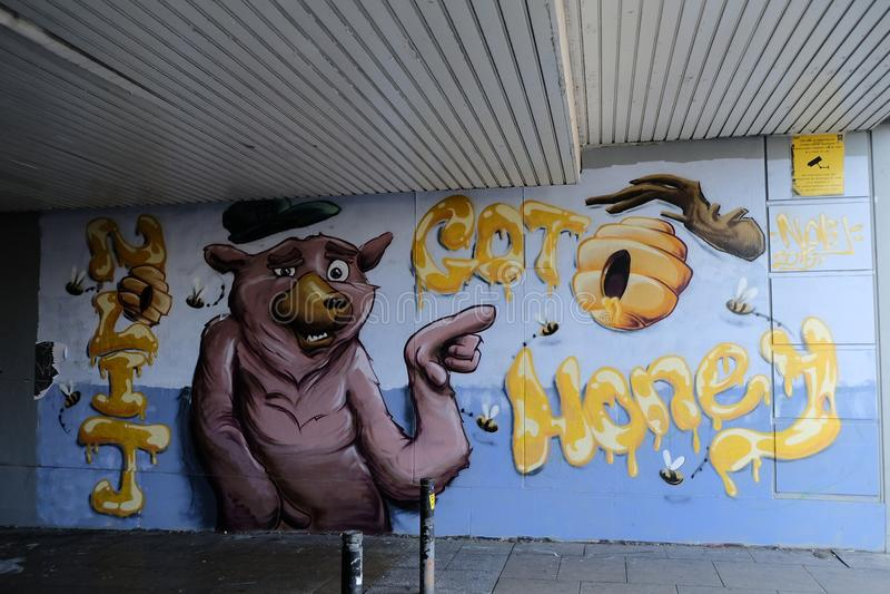 Graffiti on a wall showing a pig like animal stock image