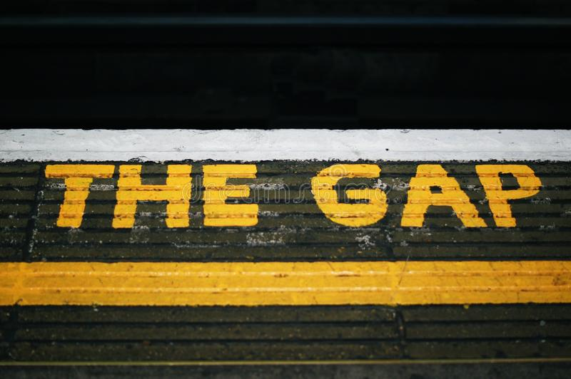 `The Gap` name in the wall stock photography
