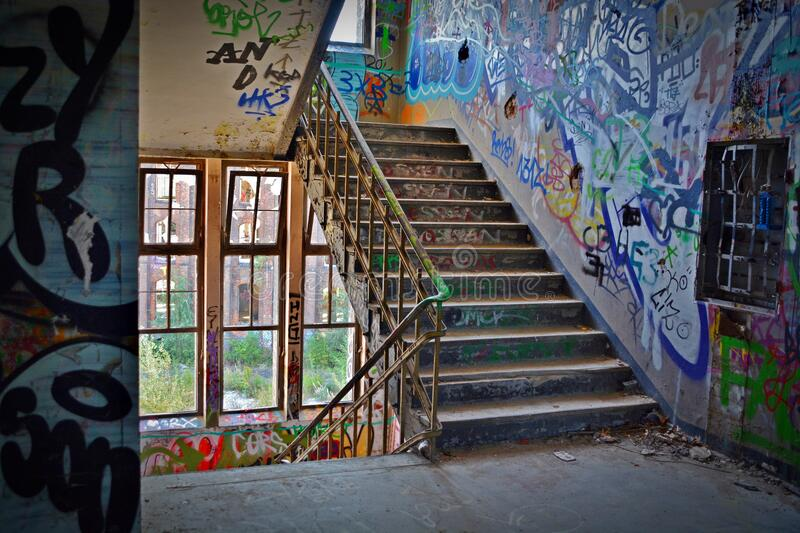 Graffiti Wall With Wrought Iron Donwstairs stock photo
